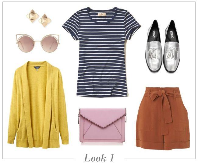 look-camiseta-listrada-short