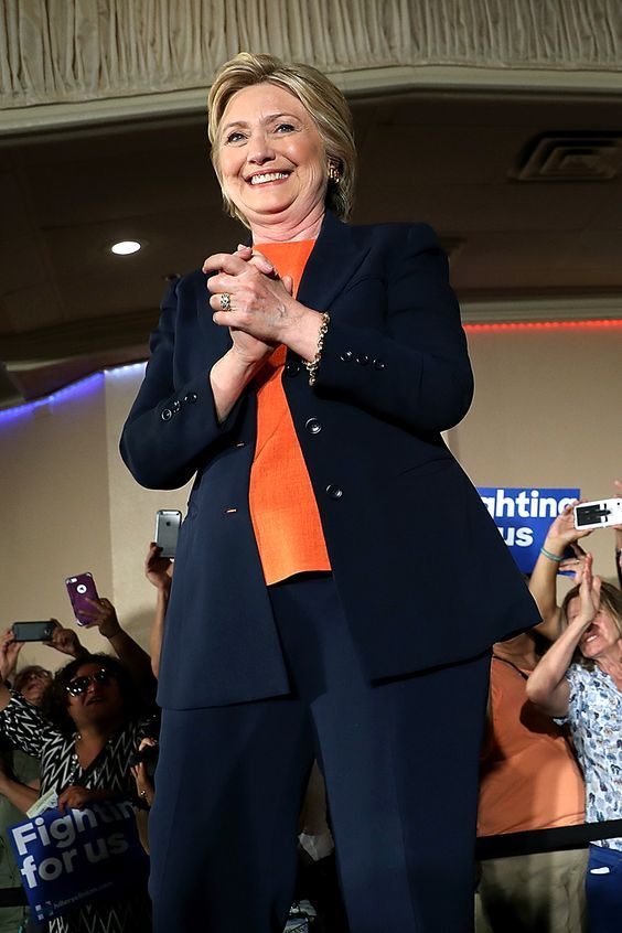 EL CENTRO, CA - JUNE 02: Democratic presidential candidate, former Secretary of State Hillary Clinton greets supporters during a campaign rally at the Barcelona Event Center on June 2, 2016 in El Centro, California. With less than a week to go before the California presidential primary, Clinton is campaigning in southern California. (Photo by Justin Sullivan/Getty Images)